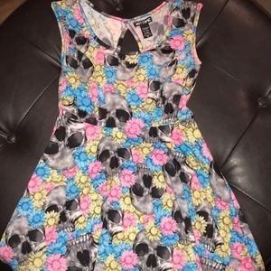 Hot topic brand skull and flower dress